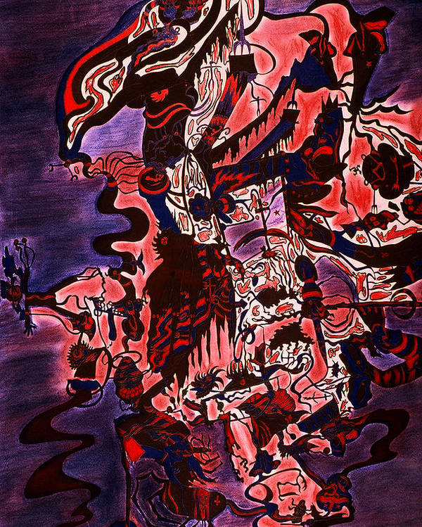 Abstract Poster featuring the print Hell by William Watson
