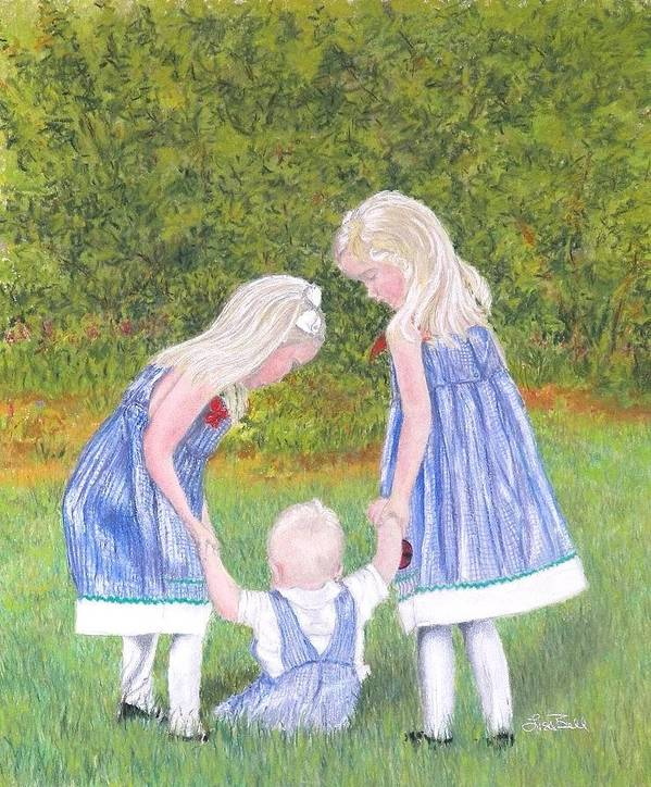 Children Poster featuring the pastel Helping Hands by Lisa Bell