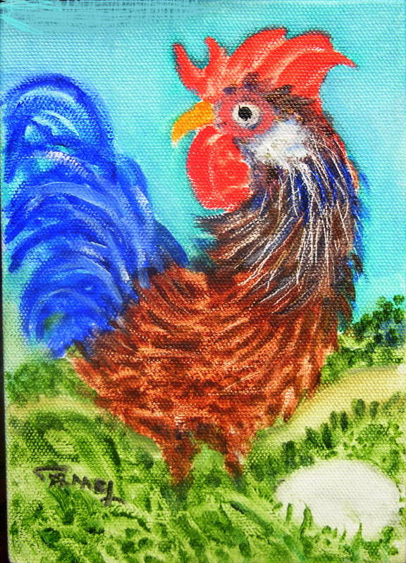 Hen Poster featuring the painting Hen With Egg by Fernando Armel