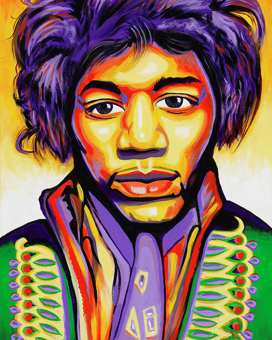 Jimmi Hendrix Poster featuring the painting Hendrix by Amraj Singh Boyal