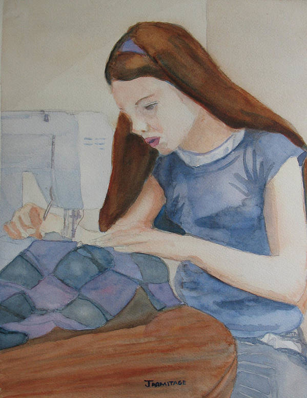 Girl Poster featuring the painting Her First Quilt by Jenny Armitage