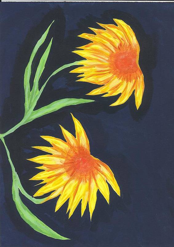 Flower Poster featuring the painting Here Comes The Sun by Laura Lillo