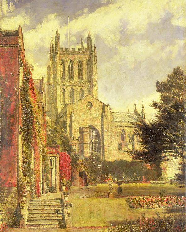 Hereford Poster featuring the painting Hereford Cathedral by John William Buxton Knight