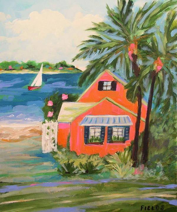 Landscape Poster featuring the painting Hibiscus Beach House by Karen Fields