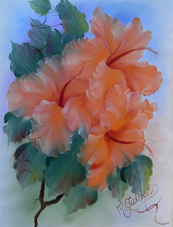 Hibiscus Poster featuring the painting Hibiscus Delight by Micheal Giddens
