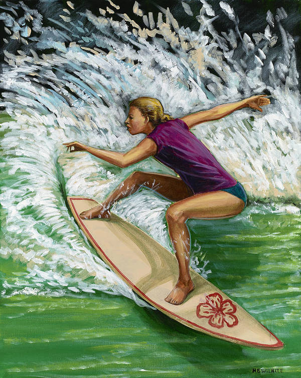 Surfer Poster featuring the painting Hibiscus Girl by Hank Wilhite