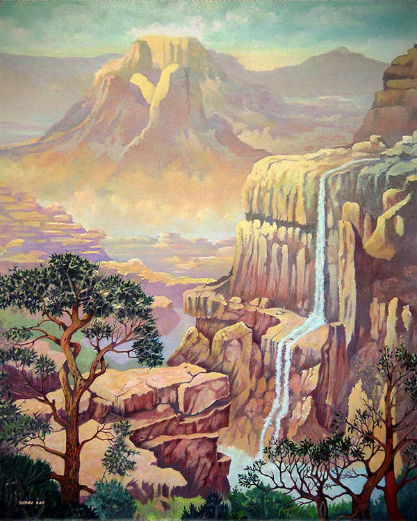 Mountains Waterfall Rocks Arizona New Mexico Southewest Landscape Poster featuring the painting Hidden Southwest Geology by Donn Kay