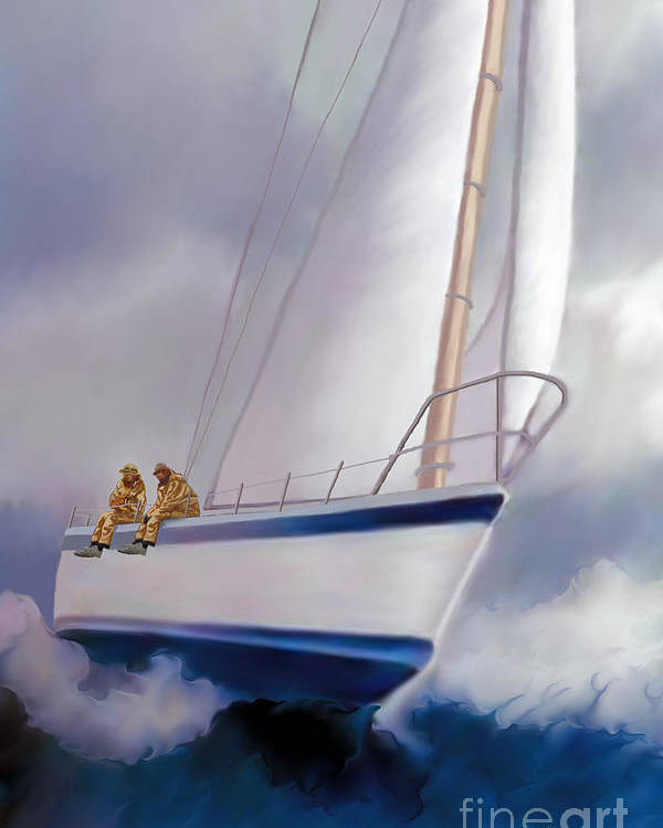 Sailing Poster featuring the painting High Roller Sailing by Corey Ford
