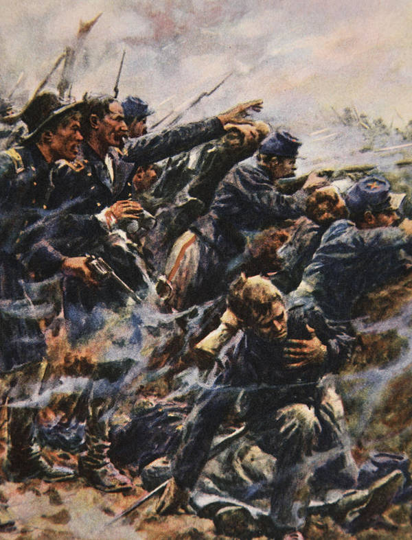 Gettysburg Poster featuring the painting High Tide At Gettysburg by American School