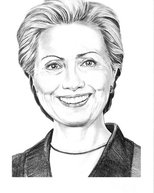 Pencil Poster featuring the drawing Hillary Clinton by Murphy Elliott