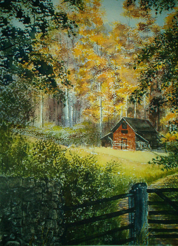 Landscape Poster featuring the painting Hillside Barn by Shirley Braithwaite Hunt