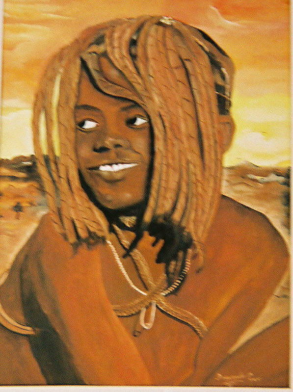 Figure Poster featuring the painting Himba Girl by Desenclos Patrick