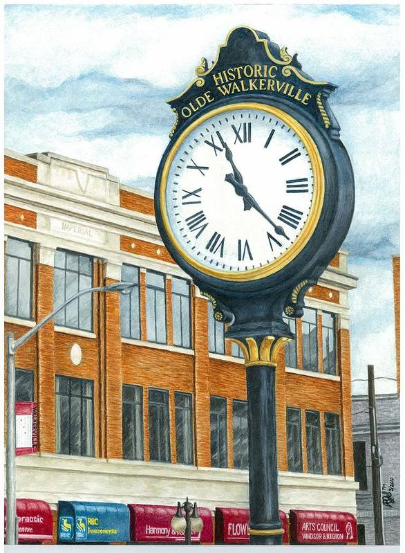 Nostalgia Poster featuring the painting Historic Olde Walkerville Clock by Rebecca Steelman