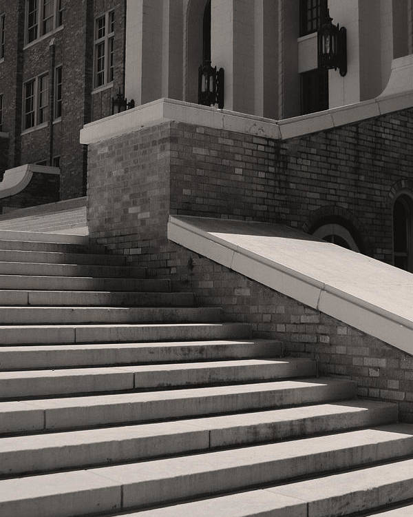 Little Rock Poster featuring the photograph Historic Steps Little Rock Central High School by Brian M Lumley