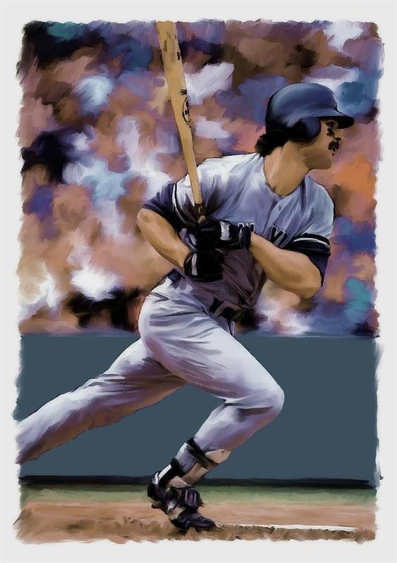 Don Mattingly Poster featuring the painting Hit Man Don Mattingly by Iconic Images Art Gallery David Pucciarelli