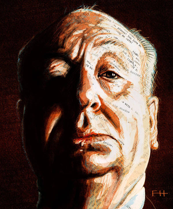Alfred Hitchcock Poster featuring the painting Hitchcock by Fay Helfer