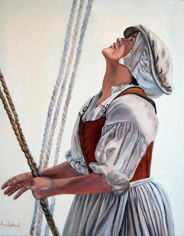 Portrait Poster featuring the painting Hoisting Sails by Anne Kushnick