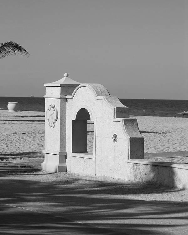 Black And White Poster featuring the photograph Hollywood Beach Wall by Rob Hans