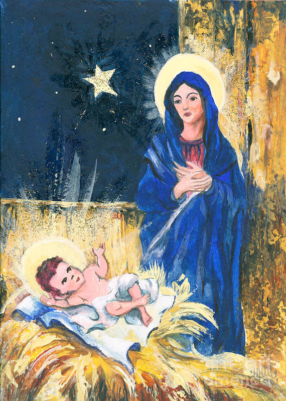 Christmas Greeting Cards Poster featuring the painting Holy Christmas No. 2 by Elisabeta Hermann