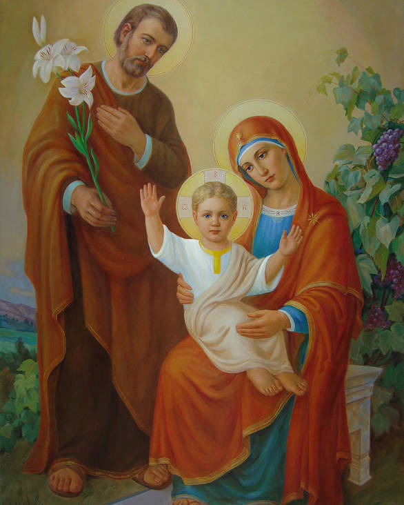 Jesus Poster featuring the painting Holy Family With The Vine Tree by Svitozar Nenyuk