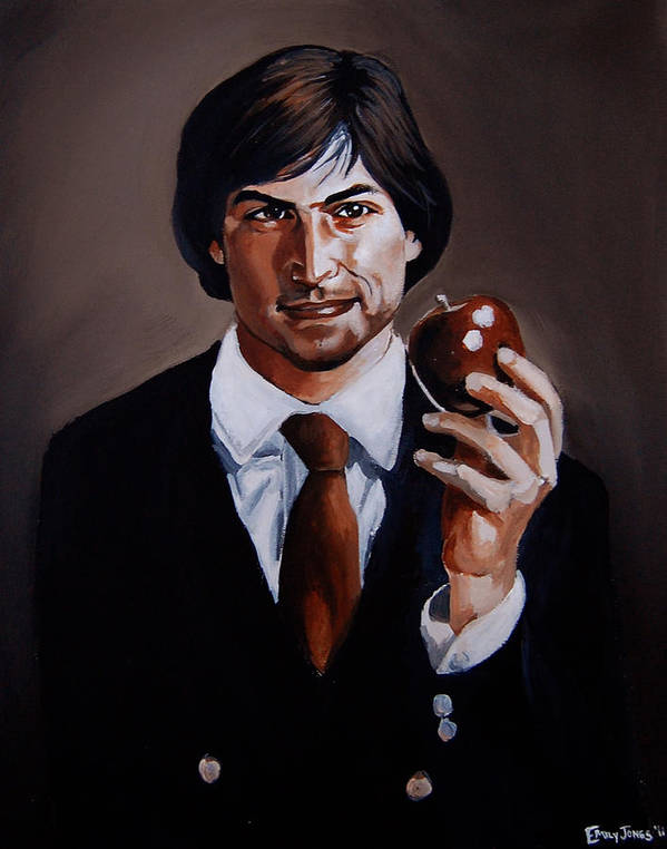 Steve Jobs Poster featuring the painting Homage To Steve Jobs by Emily Jones