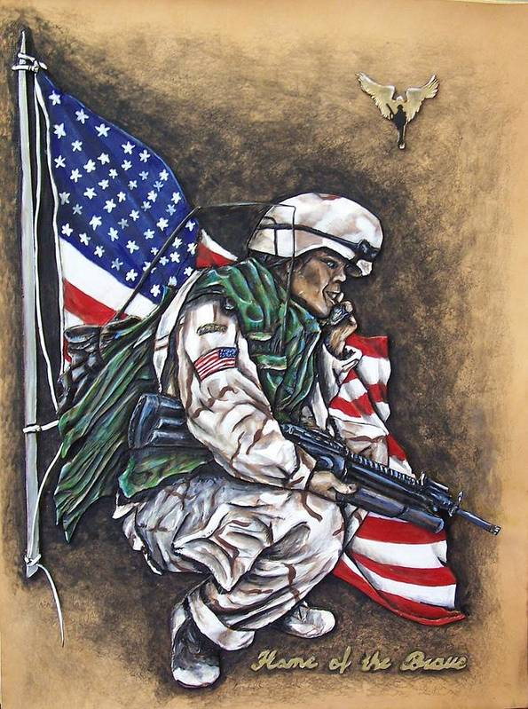 Flags Poster featuring the painting Home Of The Brave by Lilly King