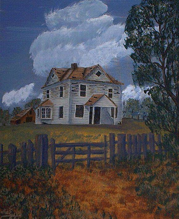 Landscape Poster featuring the painting Home On A Hill by Julia Ellis