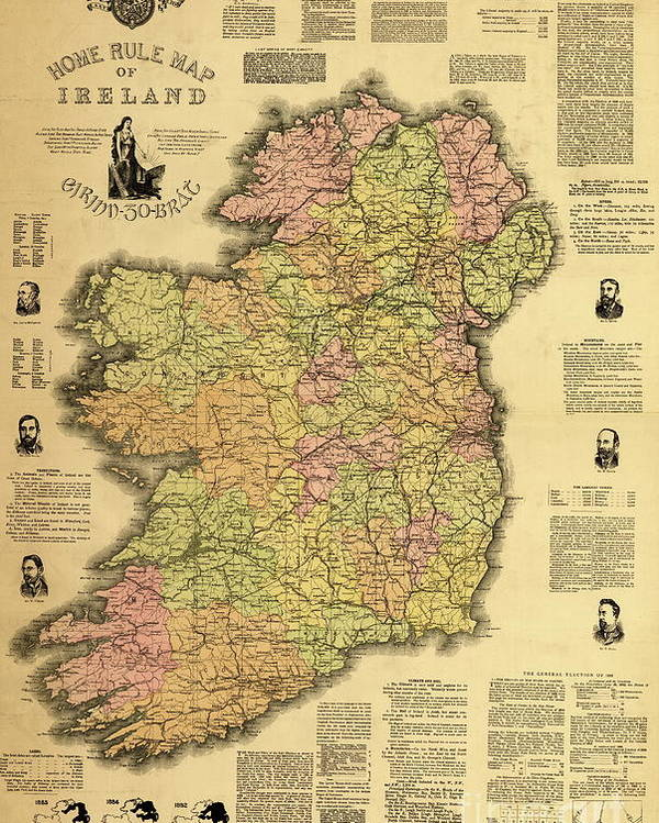 Map Of Ireland Poster.Home Rule Map Of Ireland 1893 Poster By Irish School