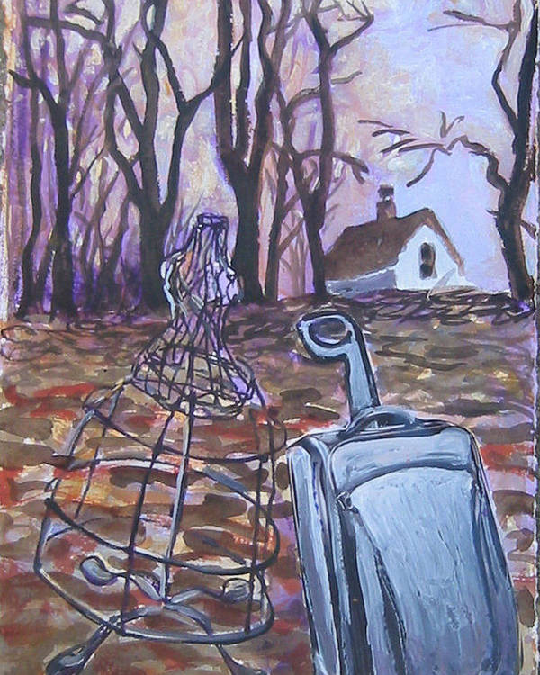 Suitcase Poster featuring the painting Homeward Trek by Tilly Strauss