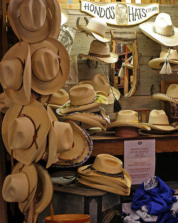 Shop Poster featuring the photograph Hondo's Cowboy Hats - Luckenback by Linda Phelps