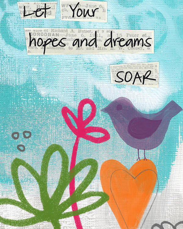 Abstract Poster featuring the painting Hopes And Dreams Soar by Linda Woods