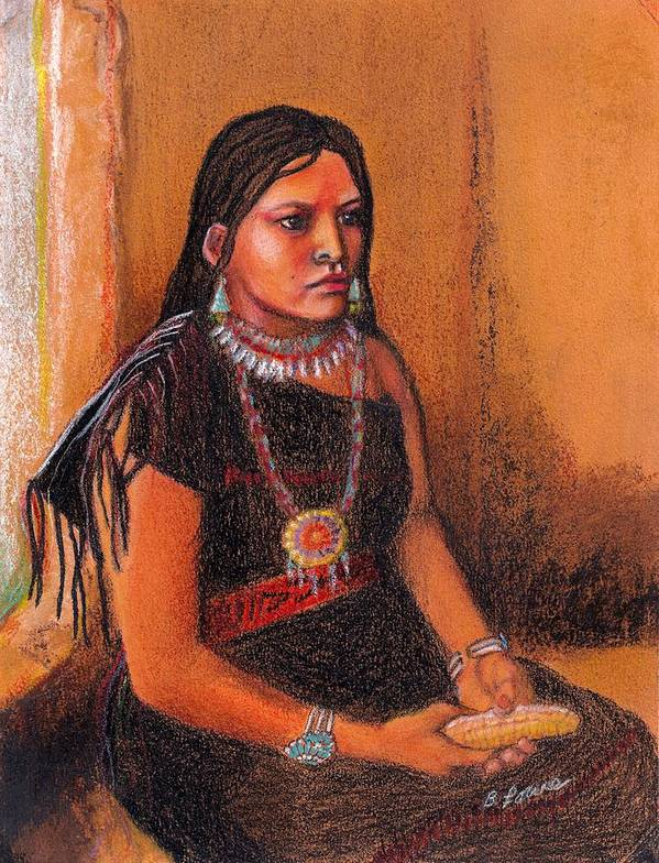 Native Poster featuring the pastel Hopi Girl by Barbara Lowe