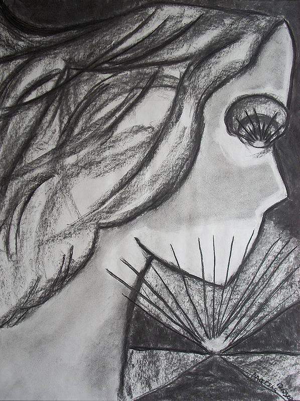 Face Poster featuring the drawing Horizon by Marsha Ferguson