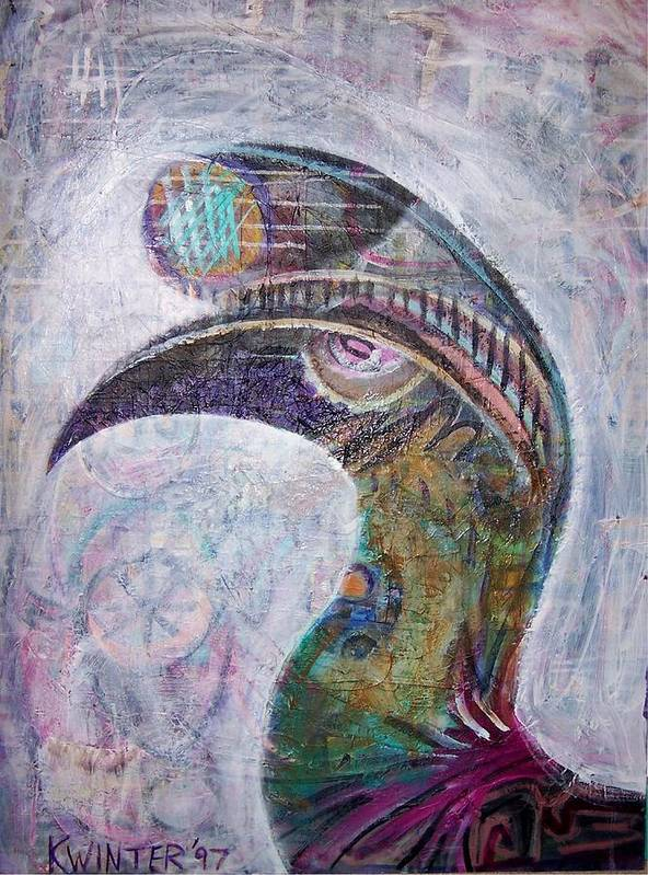 Bird Poster featuring the mixed media Hornbill by Dave Kwinter
