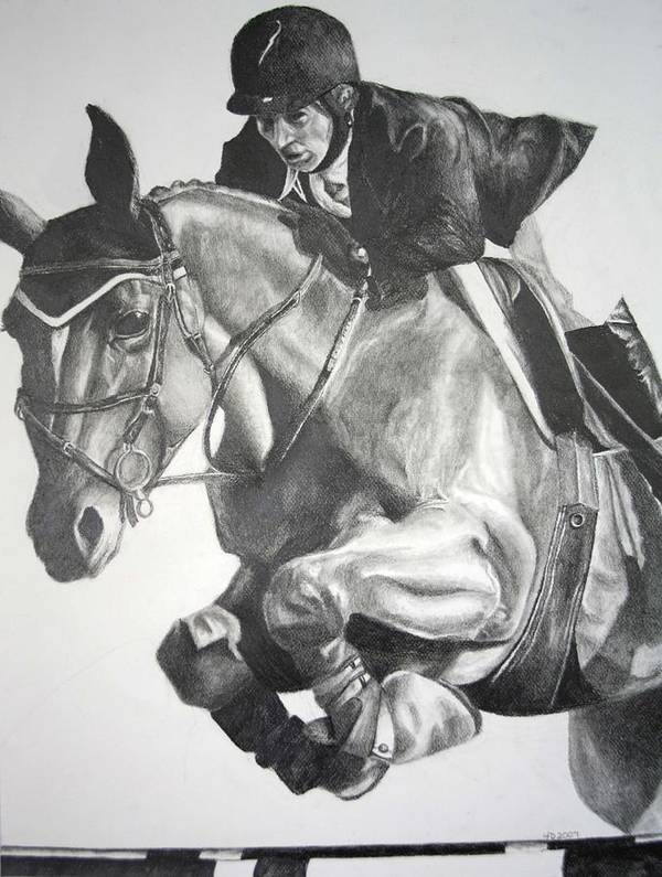 Horse Poster featuring the drawing Horse And Jockey by Darcie Duranceau