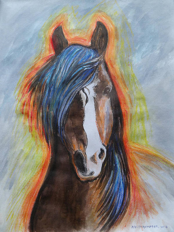 Horse Poster featuring the painting Horse Orange by Agnieszka Praxmayer