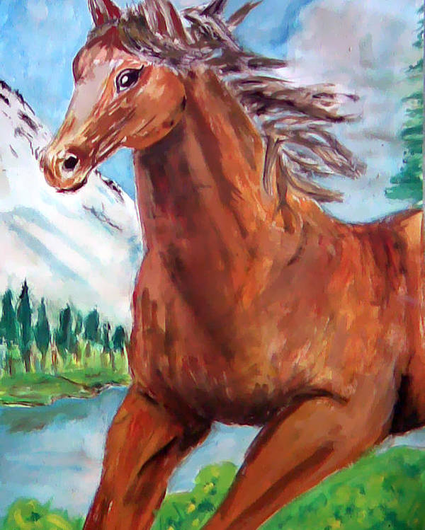 Horse Painting Poster featuring the painting Horse Painting by Bekim Axhami