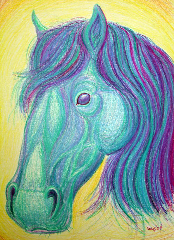 Horse Drawing Poster featuring the drawing Horse Profile by Nick Gustafson