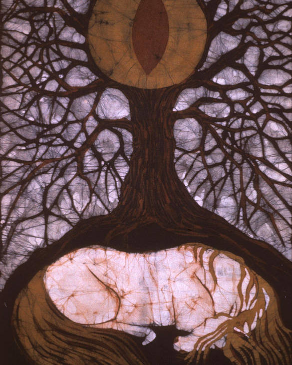 Horse Poster featuring the tapestry - textile Horse Sleeps Below Tree Of Rebirth by Carol Law Conklin