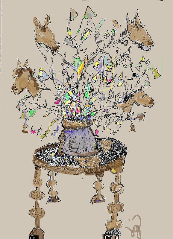 Horse Poster featuring the mixed media Horse Table by Joyce Goldin