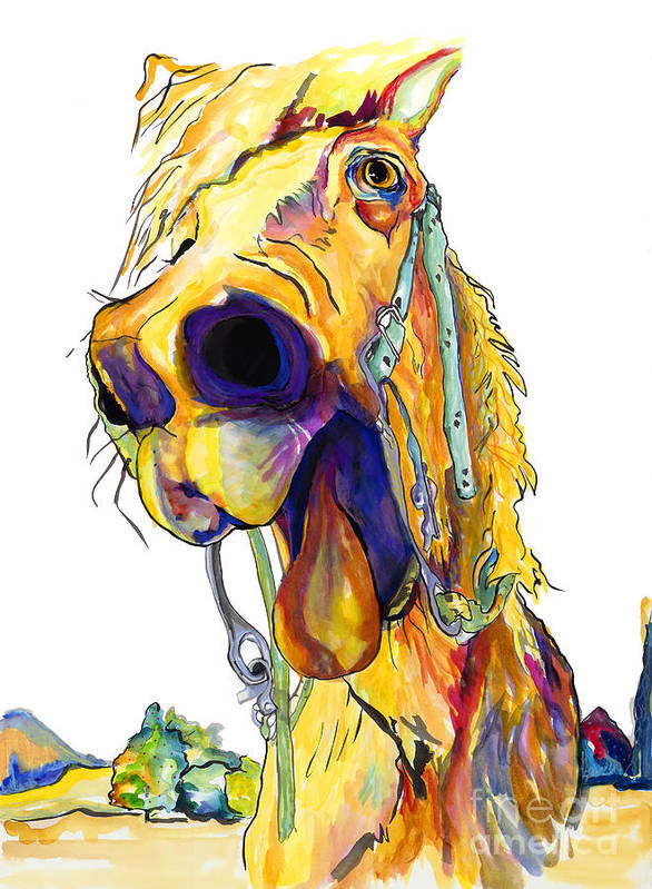 Animal Painting Poster featuring the painting Horsing Around by Pat Saunders-White