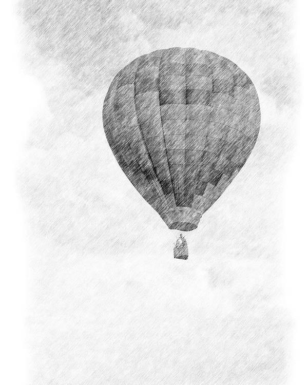 Hot Air Balloon Pencil Drawing Poster