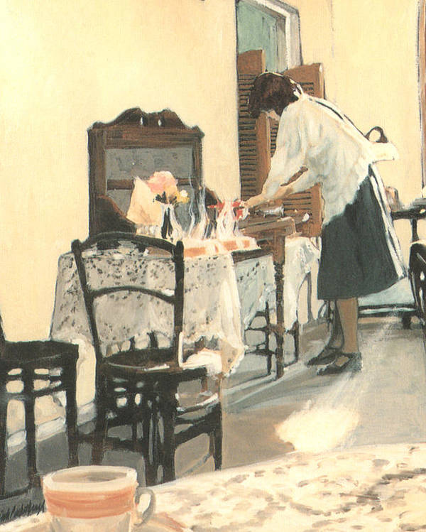 Painting Poster featuring the painting Hot Scones For Tea by Linda Crockett