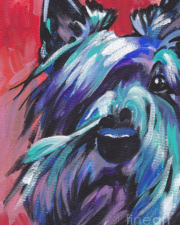 Scottish Terrier Poster featuring the painting Hot Scot by Lea S