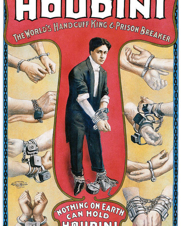 Houdini Poster featuring the painting Houdini The Worlds Handcuff King by Unknown