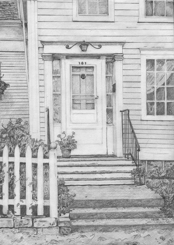 Old House Portrait Poster featuring the drawing House On Nicollet Island by Sue Olson