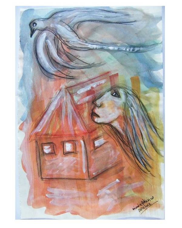 Confined Poster featuring the painting House Without A Door - Haus Ohne Tuer by Mimulux patricia no No