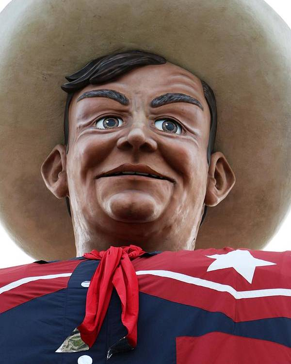Big Tex Poster featuring the photograph Howdy Folks - Big Tex Portrait 02 by Pamela Critchlow