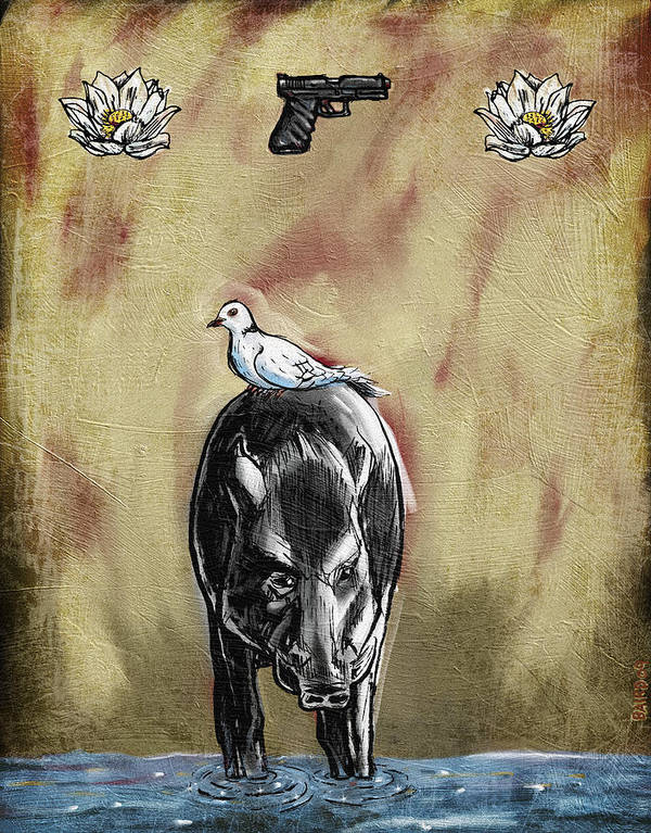 Flowers Gun Boar Dove Water Symbolism Surrealism Poster featuring the painting Human Nature by Baird Hoffmire