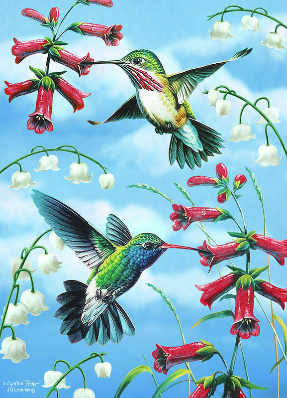 Hummingbird Poster featuring the painting Humming Birds by JQ Licensing